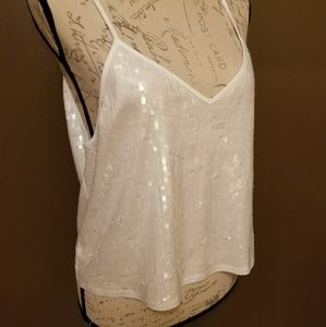Express misses Large white sequin tank.